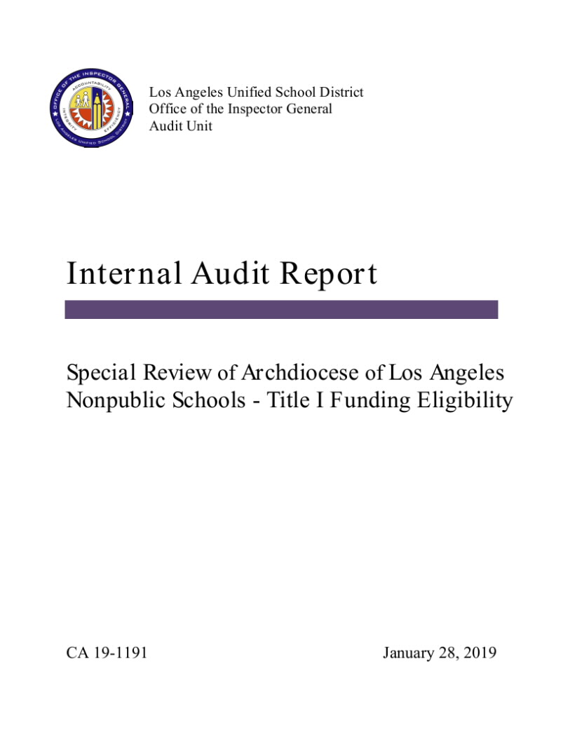 Document 'CA 19-1191 Archdiocese of Los Angeles Nonpublic Schools Title I Eligibility.pdf'